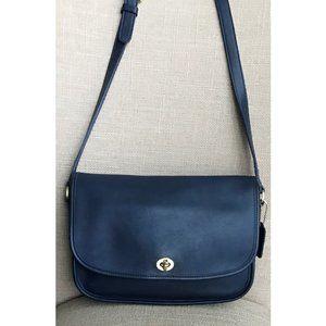 Vintage Coach City Navy Blue Crossbody Bag 9790